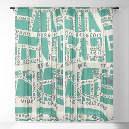 PARIS MAP GREEN Sheer Curtain