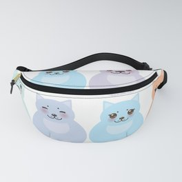 set funny cats, pastel colors on white background Fanny Pack