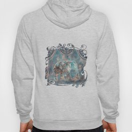Elephant Ethnic Style Pattern Teal and Copper Hoody