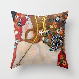 Female Form Sea Serpents No. 5 IV by Gustav Klimt Throw Pillow