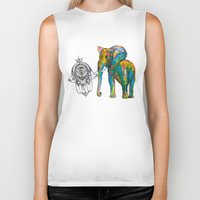 boho Biker Tanks featuring BOHO ELEPHANT by Nizhoni Creative Studio