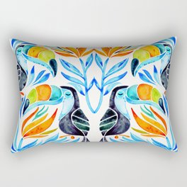 Tropical Toucans – Blue Leaves Rectangular Pillow