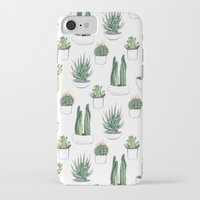 iPhone Cases featuring watercolour cacti and succulent by Vicky Webb