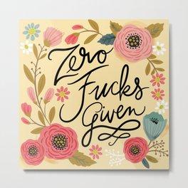Pretty Sweary: Zero Fucks Given, in Yellow Metal Print
