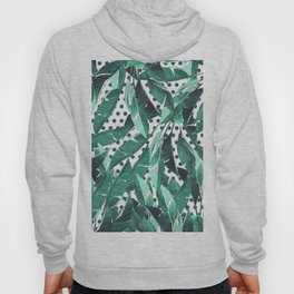 Forest green white polka dots banana tropical leaves Hoody