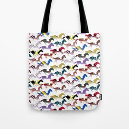 Off to the Horse Races Jockey Silk Pattern Tote Bag