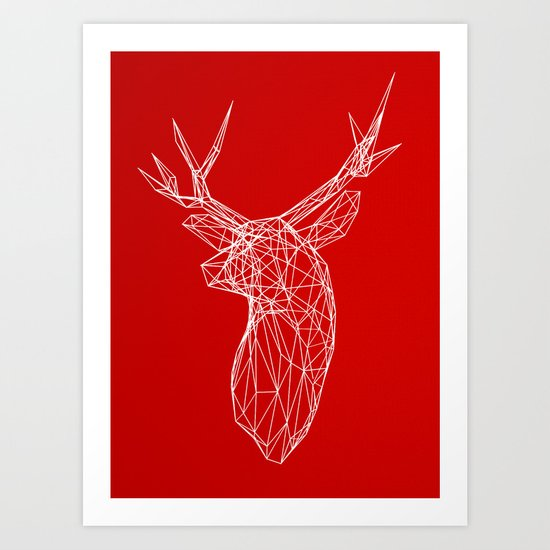 3D Stag Trophey Head Wire Frame Art Print