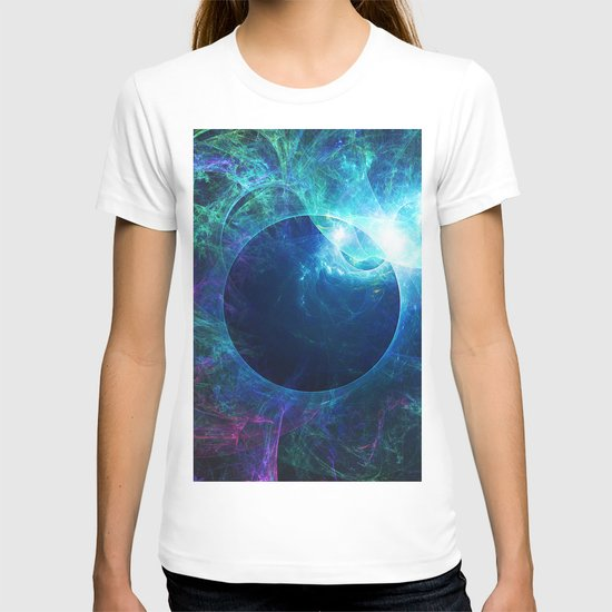 Abstract colorful shiny print graphic with planet space by fuzzyfox85