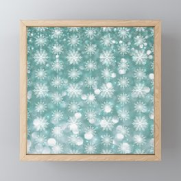 Holiday Teal and Flurries Framed Mini Art Print