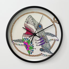 Day of The Dead Shark Wall Clock
