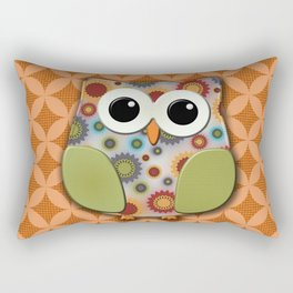 Colorful Floral Owl on Orange Rectangular Pillow