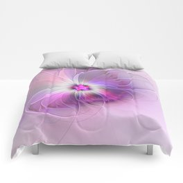 Abstract Flower With Pink And Purple Fractal Comforters