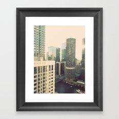 Chicago River Marina Tower Color Photo Framed Art Print