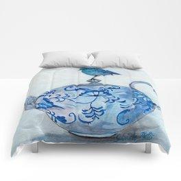 Blue Bird on Teapot Comforters