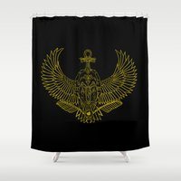 egyptian Shower Curtains featuring EGYPTIAN SCARAB by Insait Disseny
