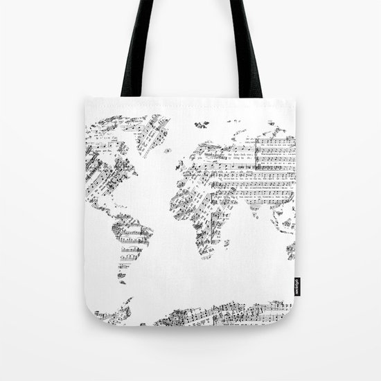 world map music vintage white Tote Bag