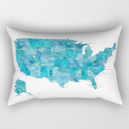 """Teal watercolor map of the USA with cities, """"Norvin"""" Rectangular Pillow"""