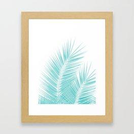 Soft Turquoise Palm Leaves Dream - Cali Summer Vibes #1 #tropical #decor #art #society6 Framed Art Print
