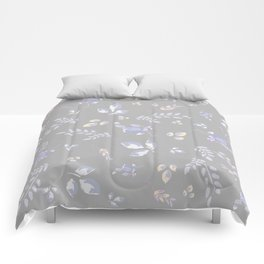 Spring colors watercolor leaves & tulips on light grey background Comforters