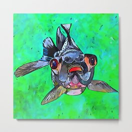 Cartoon Style Blackmoor Goldfish With Gaping Mouth Metal Print