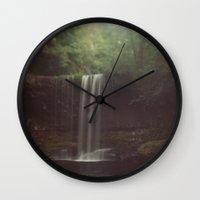 beaver Wall Clocks featuring Beaver Falls by Kevin Russ
