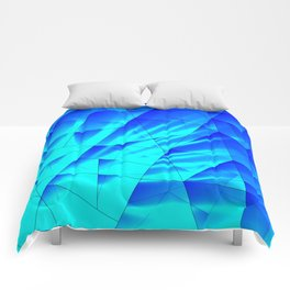Bright sunshine on celestial and blue triangles of irregular shape. Comforters