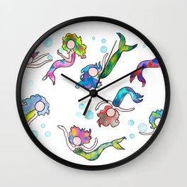 Watercolor Mermaids Wall Clock