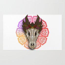 The Curved Horned Dragon Skull Boho-Style Rug