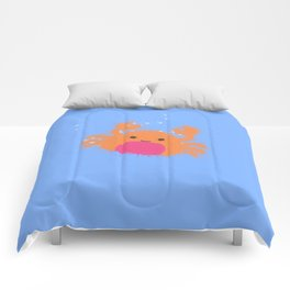 Orange Cartoon Crab Comforters