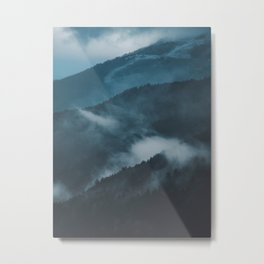 Layers of Mountain Valley Forest Fog Clouds Modern Landscape Metal Print