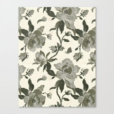 Black Magnolia Pattern Canvas Print