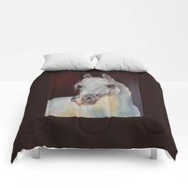 Arabian Horse portrait Gray horse head horse painting Comforters