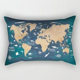 World Map Oceans Life blue #map #world Rectangular Pillow