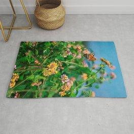 Hawaiian Flowers & Butterfly (2) | Hawaii Tropical Nature Coastal Travel Photography Print Rug