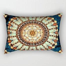 Sketched Mandala Design On A Blue Textured Background Rectangular Pillow