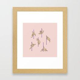 Sloths Pole Dancing Club Framed Art Print