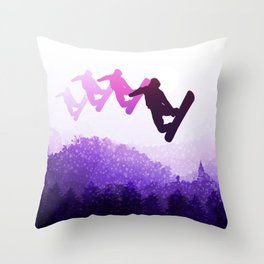 Snowboard Skyline IV Throw Pillow