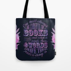 Be Careful Of Books - Black & Purple Tote Bag