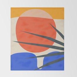 Mid Century Modern Abstract Wall Art Print, Yellow And Black Abstract Print, Modern Retro Art, Livin Throw Blanket