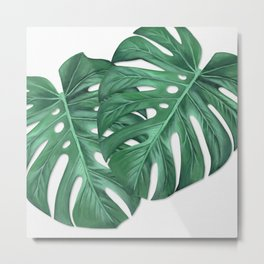 Monstera Tropical Leaf Painting Metal Print