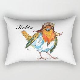 Cheerful robin in the pilot's helmet Rectangular Pillow