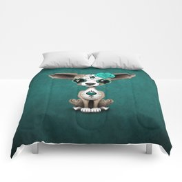 Blue Day of the Dead Sugar Skull Chihuahua Puppy Comforters