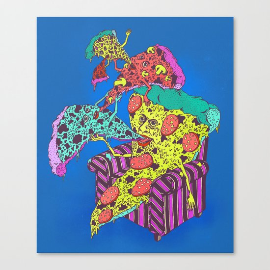 Pizza Eating Pizza - Blue Edition Canvas Print