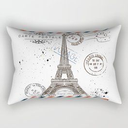 Art hand drawn design with Eifel tower. Old postcard style Rectangular Pillow