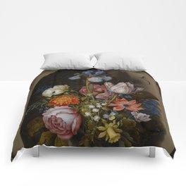 "Ambrosius Bosschaert the Elder ""A still life of flowers in a glass beaker"" Comforters"