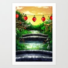 A Bridge Over Placid Waters Art Print