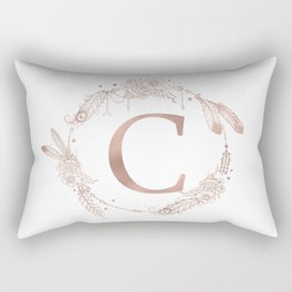 Letter C Rose Gold Pink Initial Monogram Rectangular Pillow