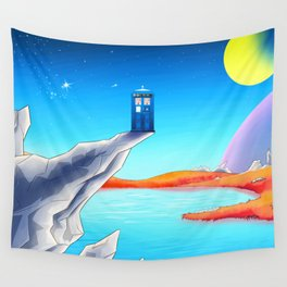 tardis space at starry night Wall Tapestry