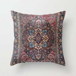 Persian Old Century Authentic Colorful Dusty Blue Pink Brown Vintage Patterns Throw Pillow