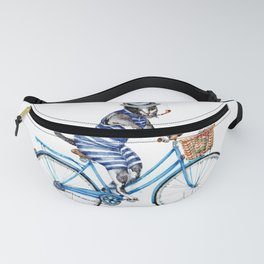 Cat on a Blue Bicycle Fanny Pack